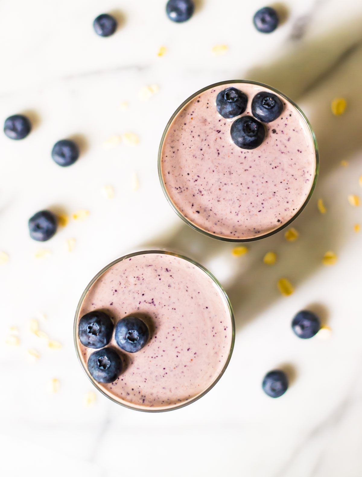 Two healthy blueberry smoothies