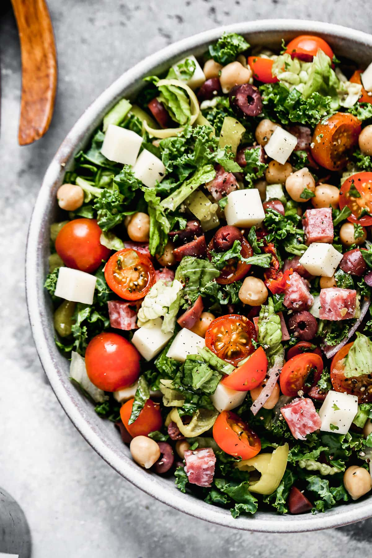 Italian chopped salad in a bowl with chickpeas