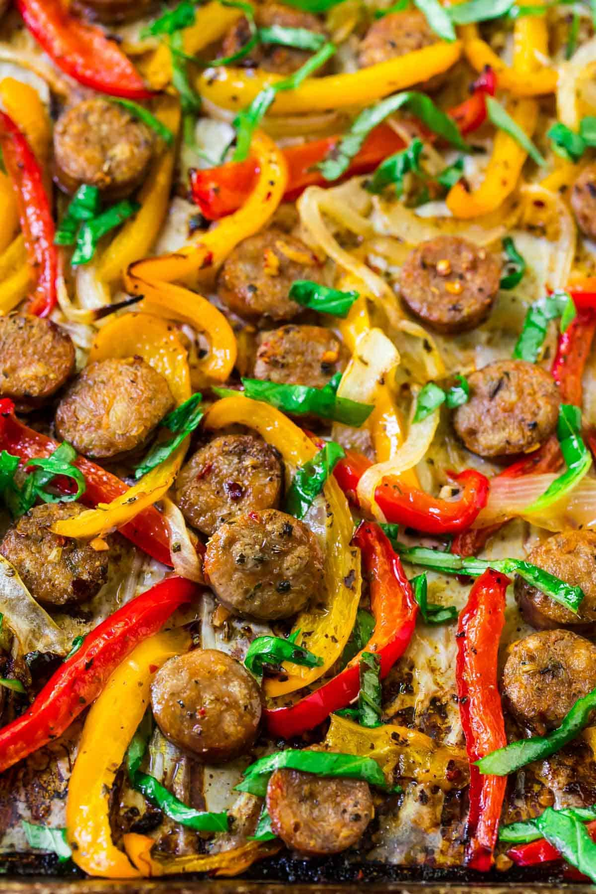 Italian Sausage and Peppers in the oven. An easy, healthy, and flavorful Italian sausage recipe! Great for sweet or hot Italian sausage.