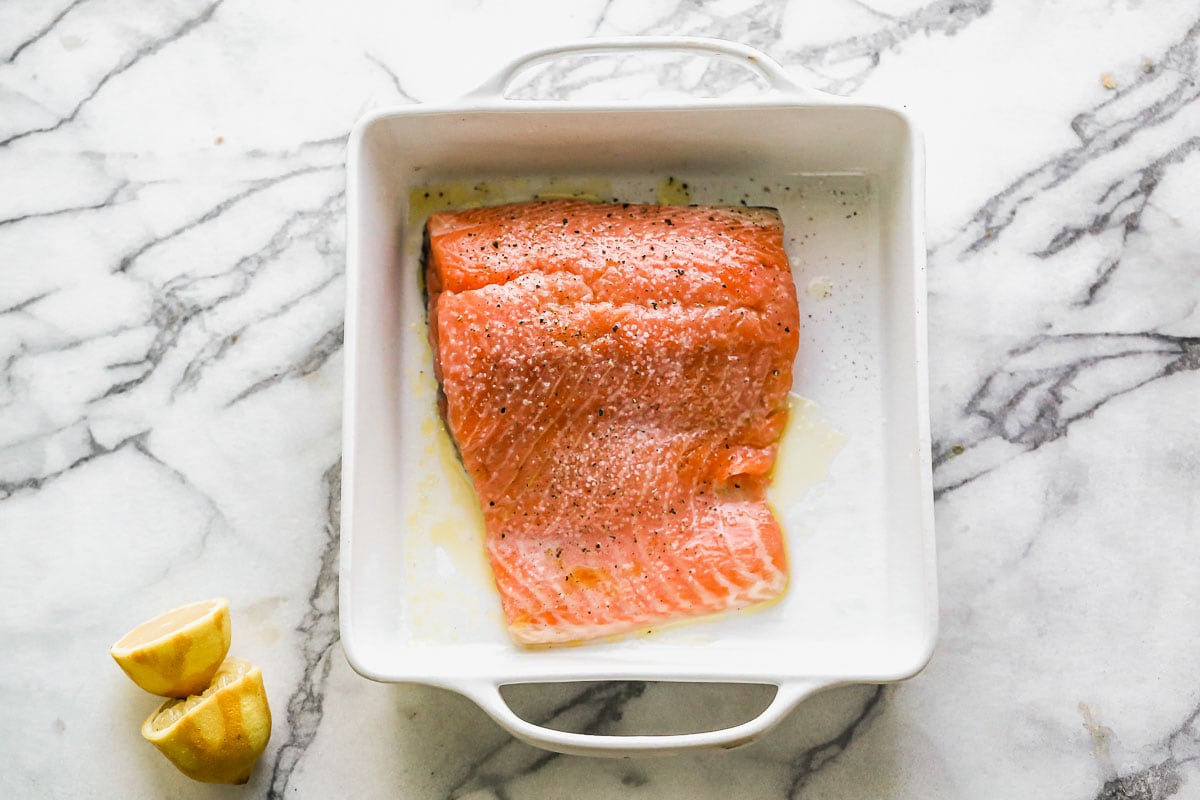 A fish filet in a baking dish