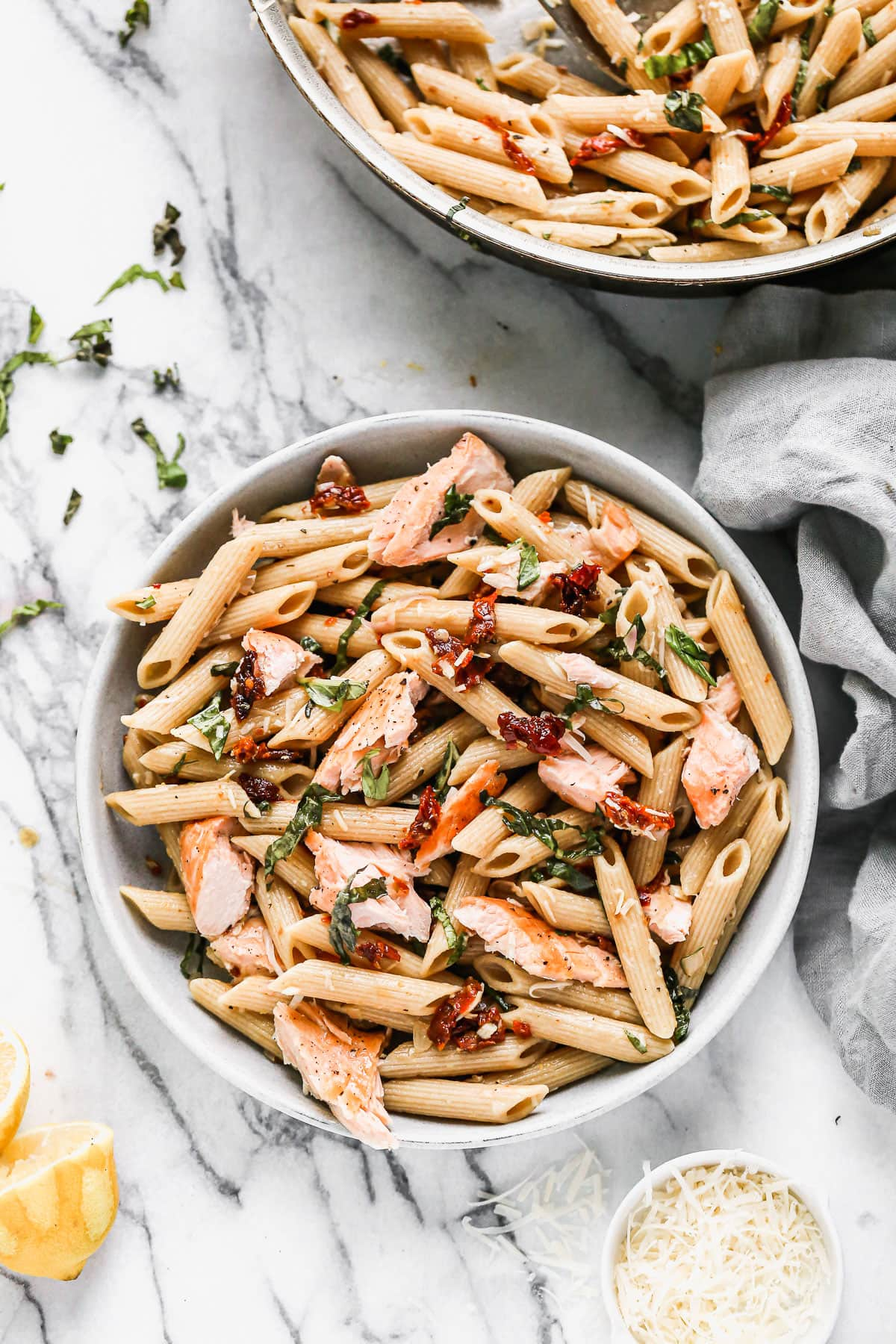 Easy salmon pasta in a bowl