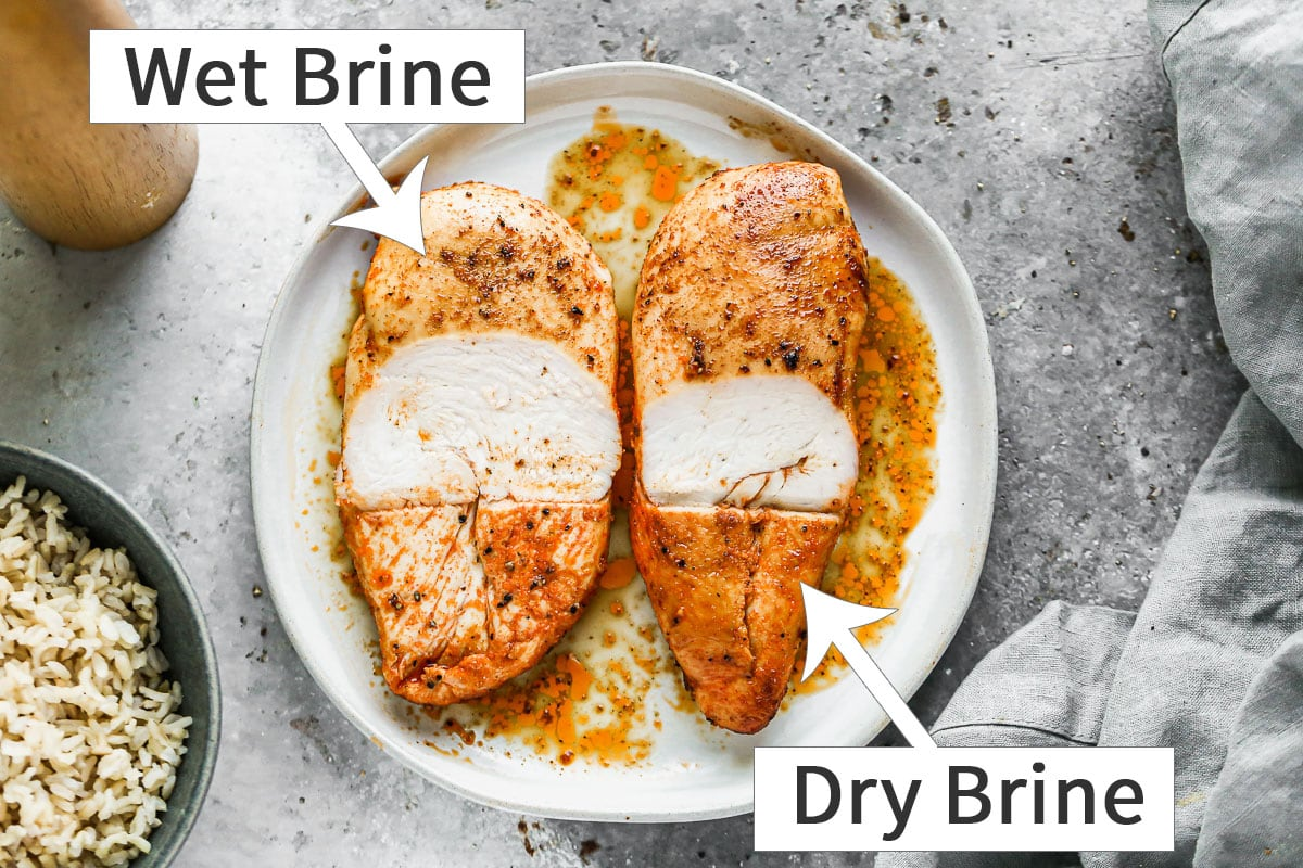 Wet brined vs. dry brined baked chicken breasts