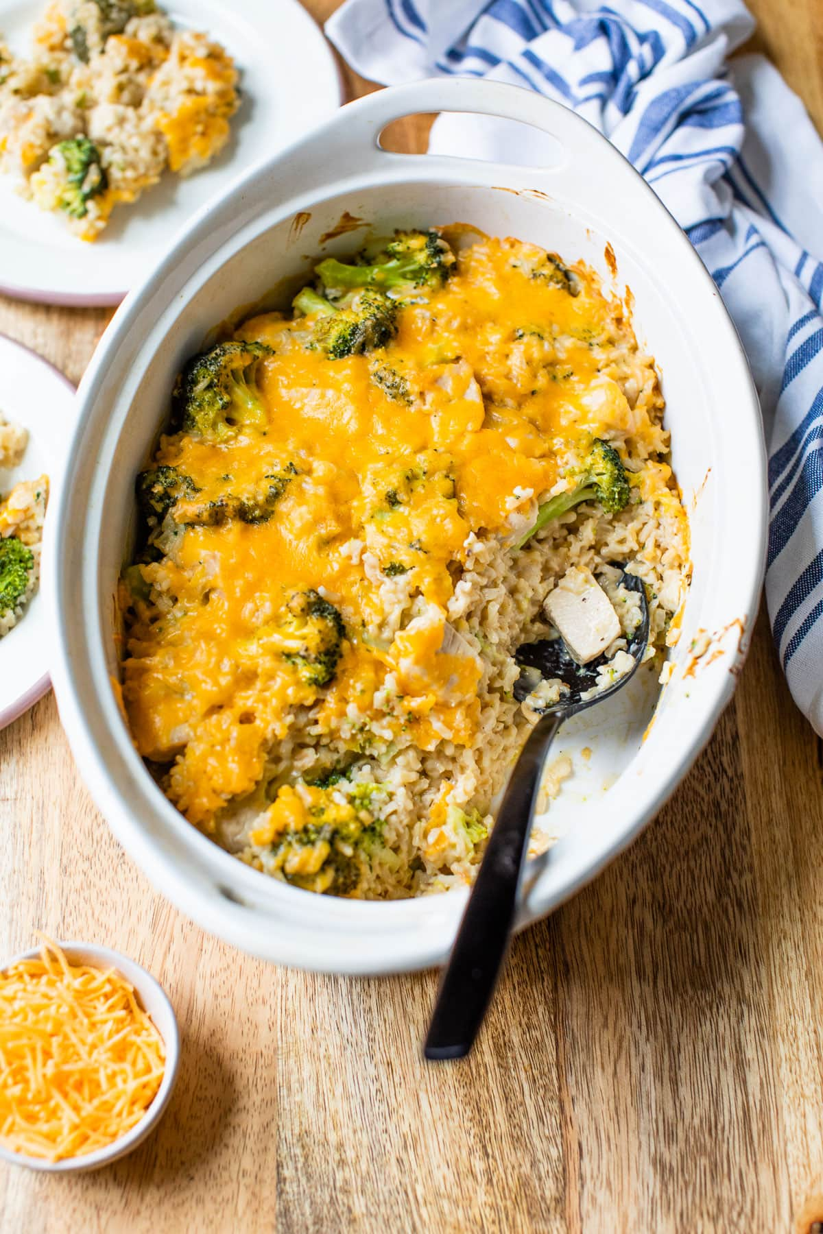 Chicken broccoli rice casserole in a baking dish