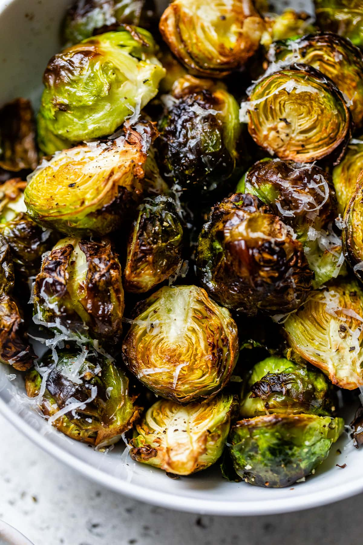 Air fryer Brussels sprouts in a bowl