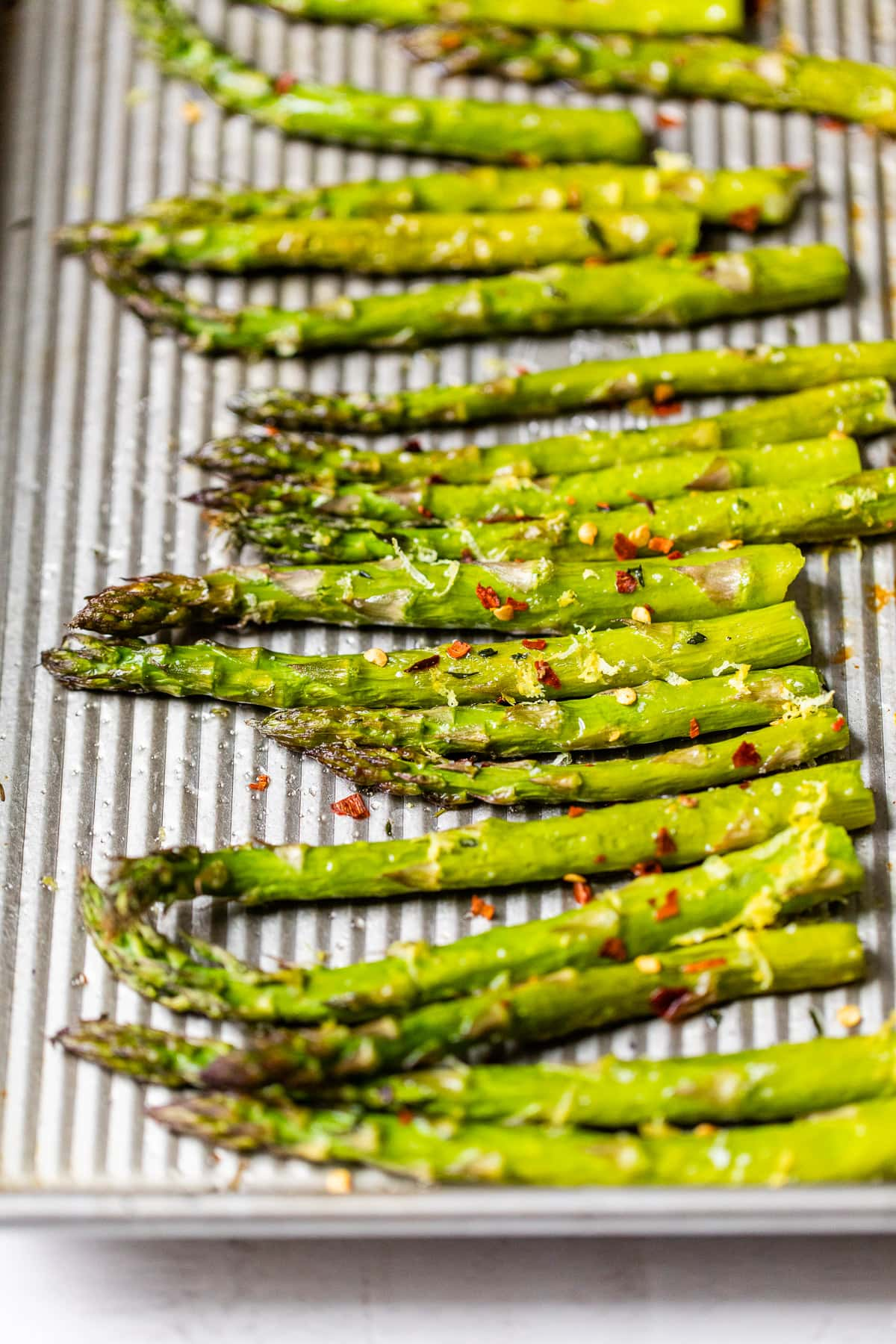 Easy roasted asparagus on a baking sheet