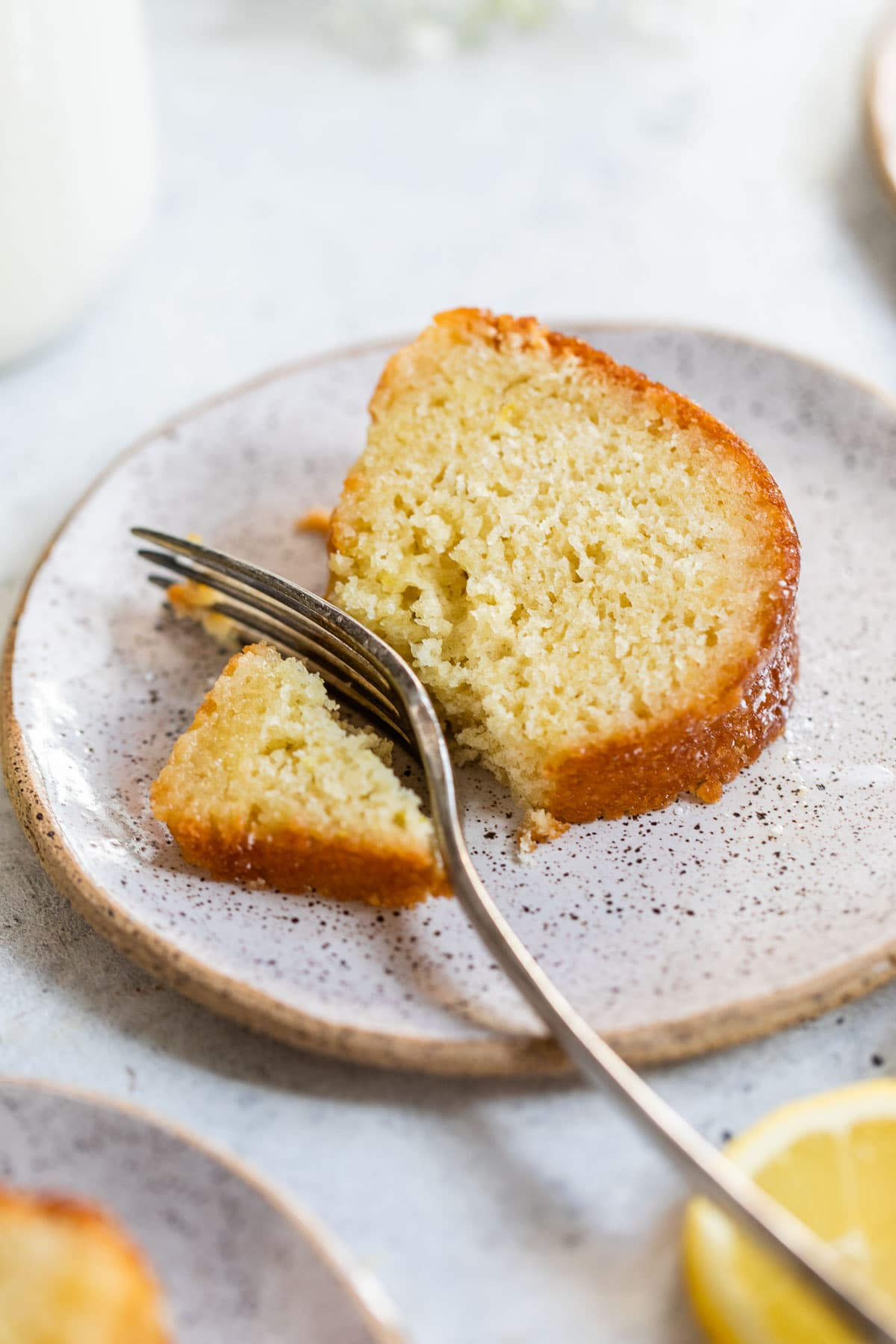 A slice of buttermilk cake on a plate