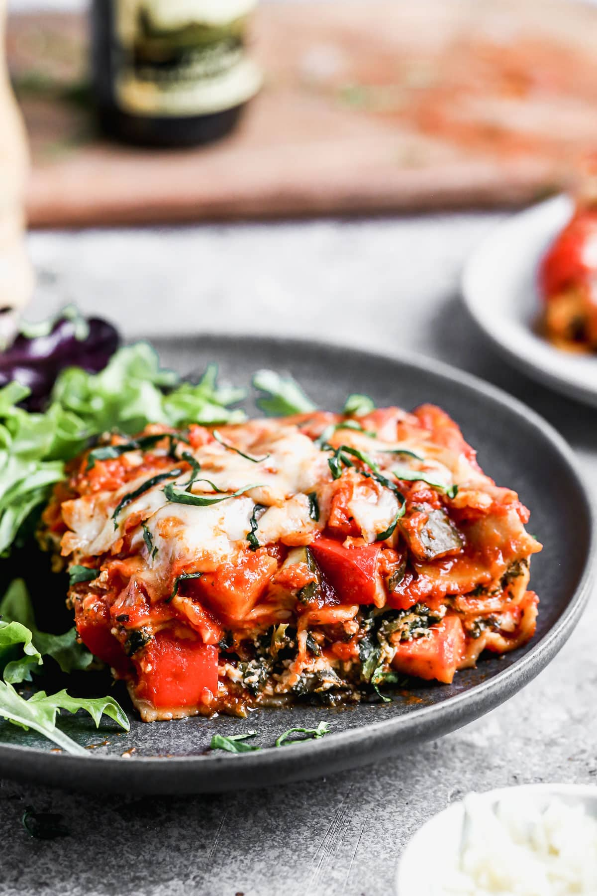 Easy vegetable lasagna on a plate