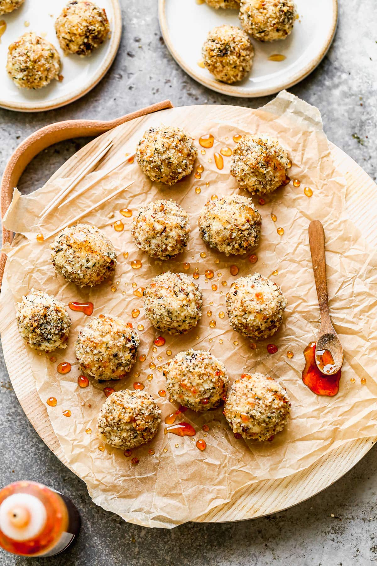 Goat cheese balls on a serving tray