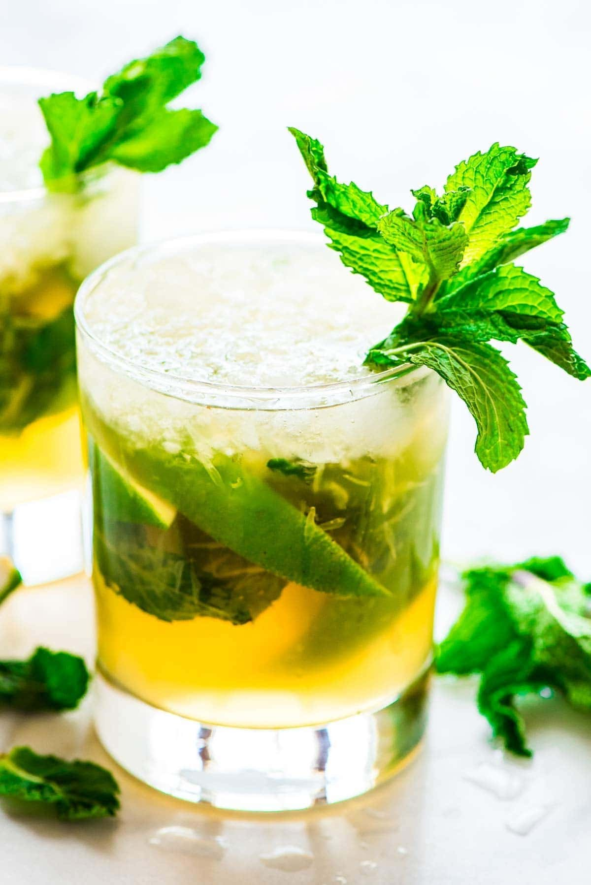 One of the best whiskey smash variations with lime and mint