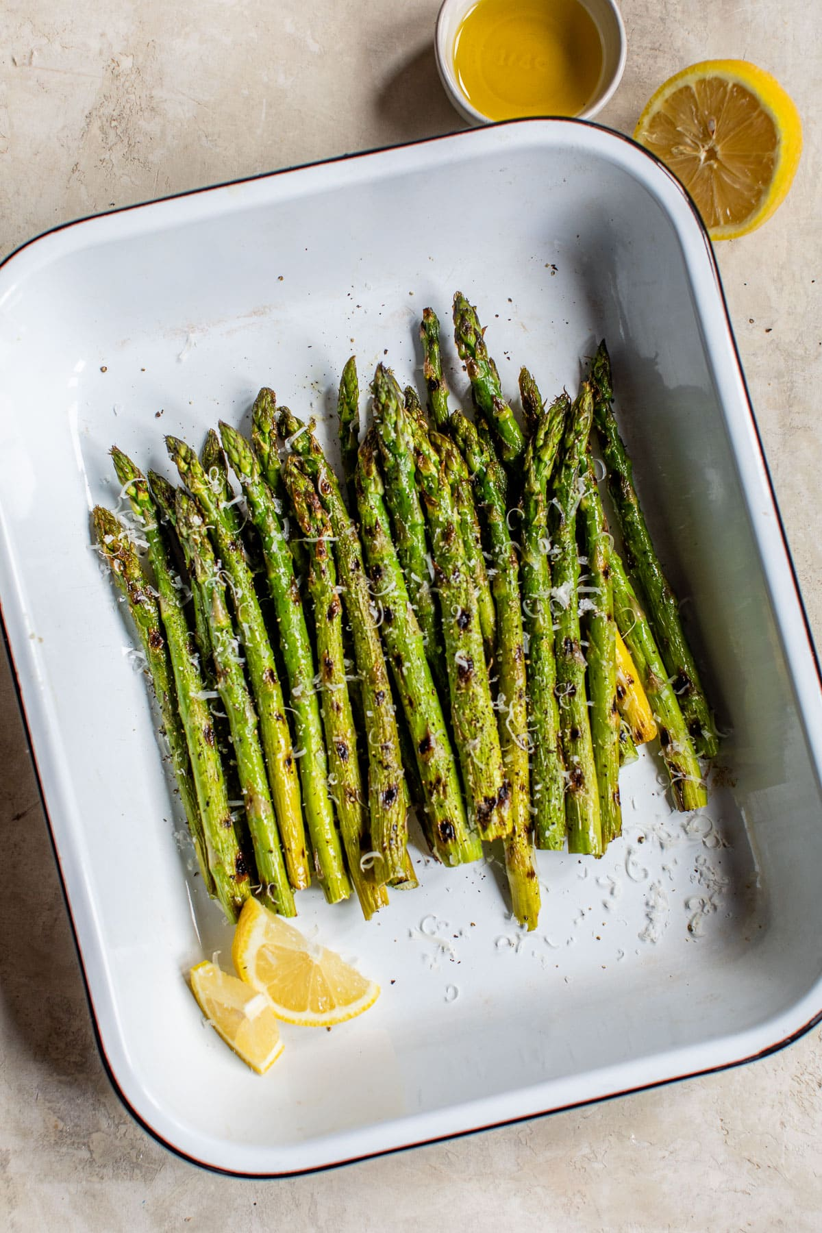 Healthy grilled asparagus in a baking dish