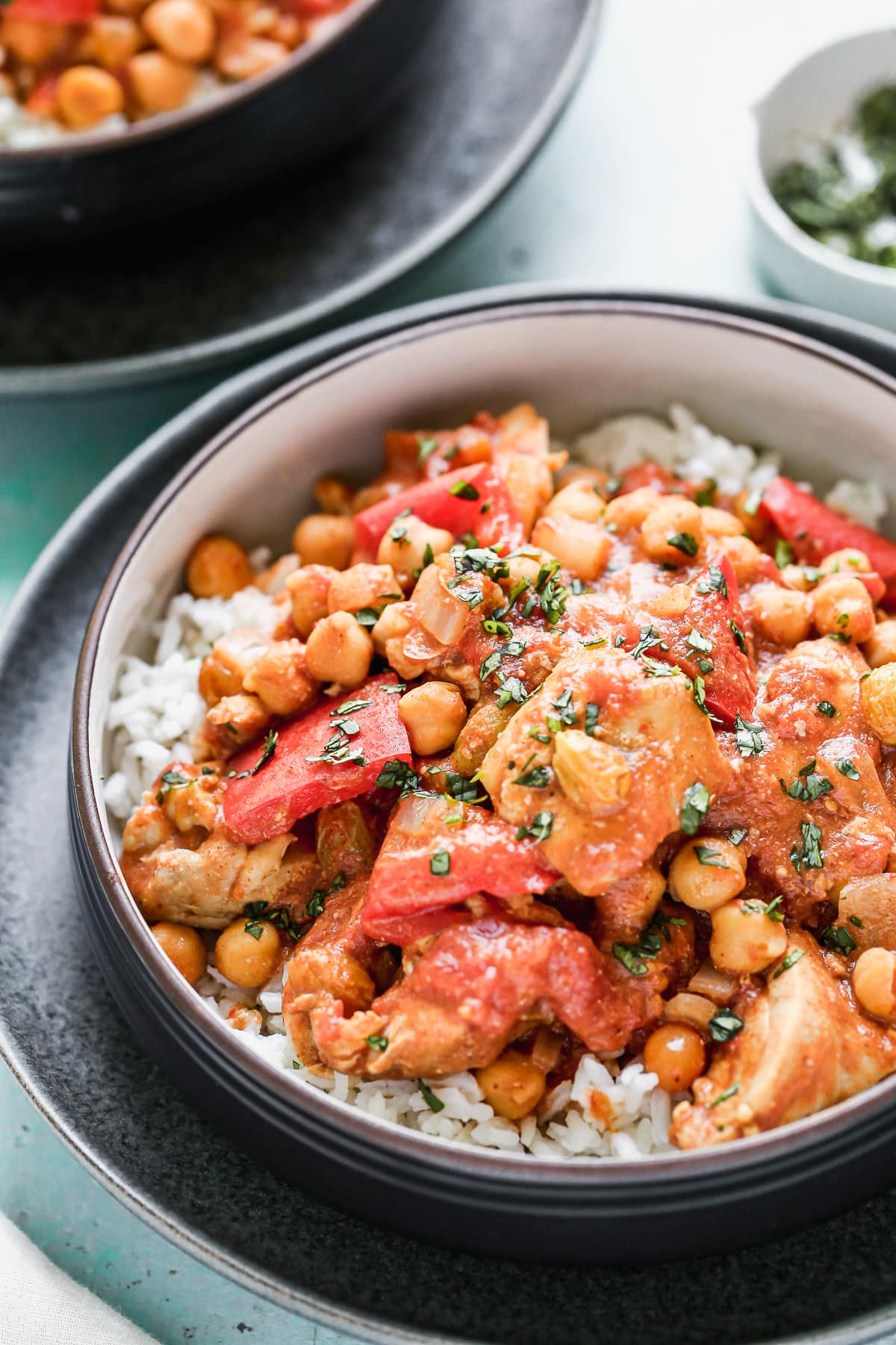 Crock pot Moroccan chicken in a bowl