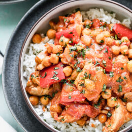 Easy crock pot Moroccan chicken in a bowl