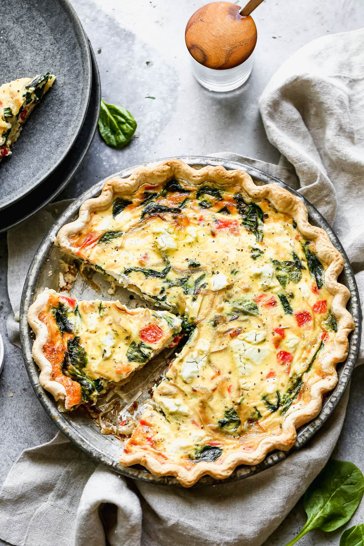 Goat cheese quiche with vegetables