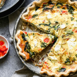 Healthy goat cheese quiche
