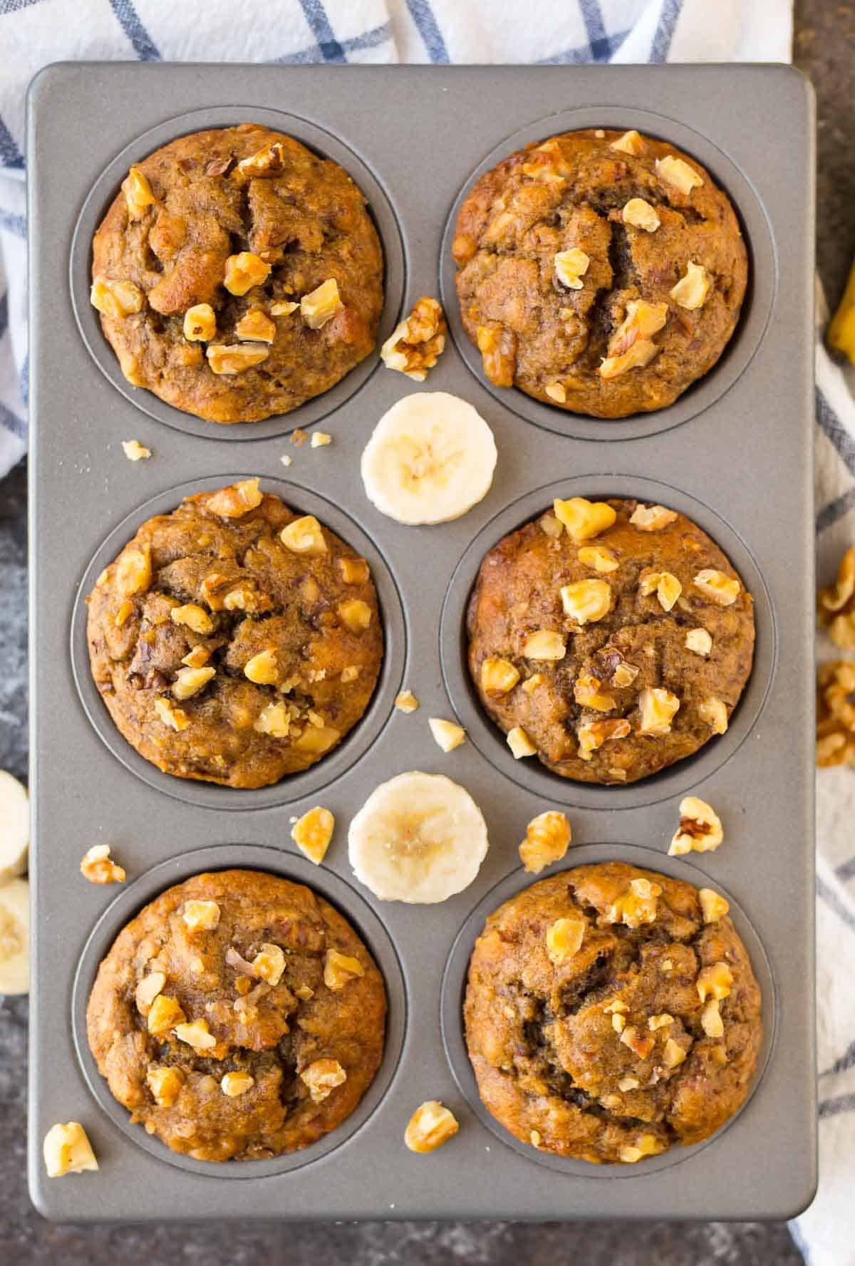 Healthy banana muffins in a muffin pan