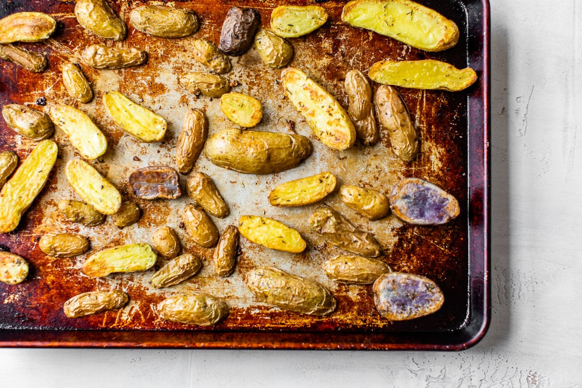 Healthy roasted potatoes on a baking sheet