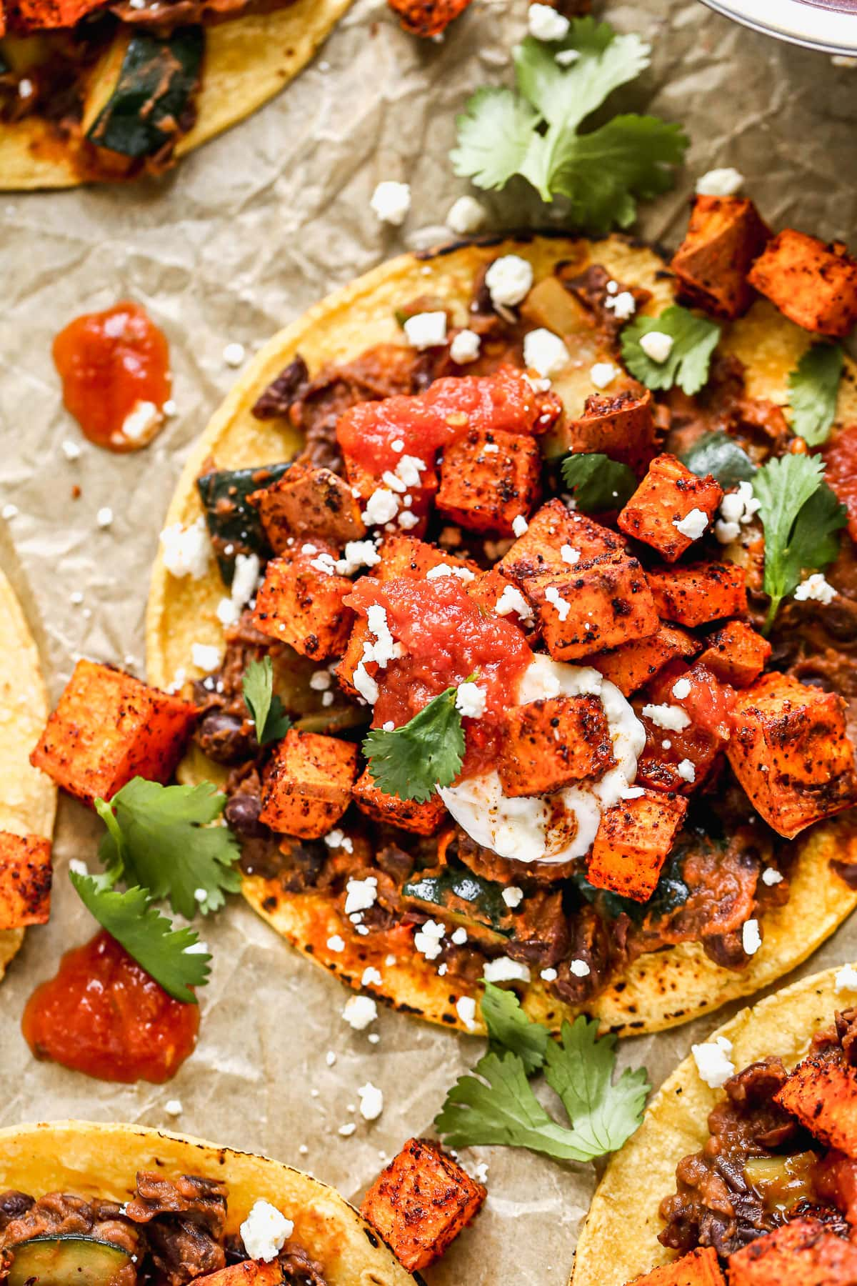 A vegetarian taco with sweet potatoes