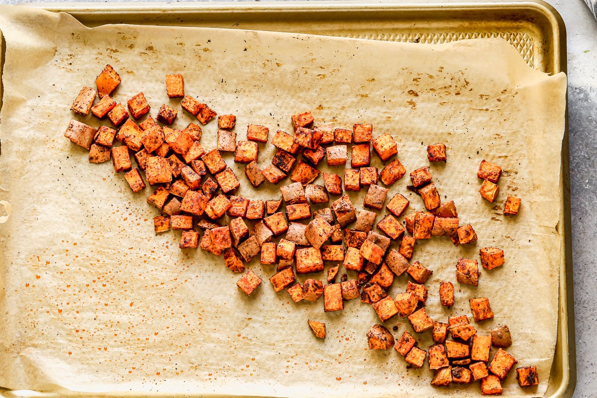 Roasted sweet potatoes with spices