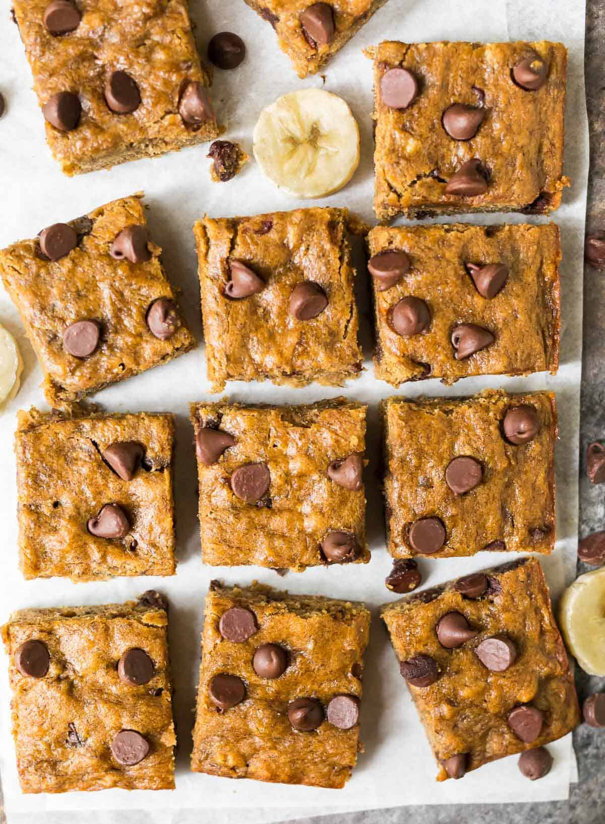 Squares of healthy Banana Bars with chocolate chips