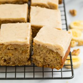 Banana Bread Brownies topped with Cream Brown Butter Frosting