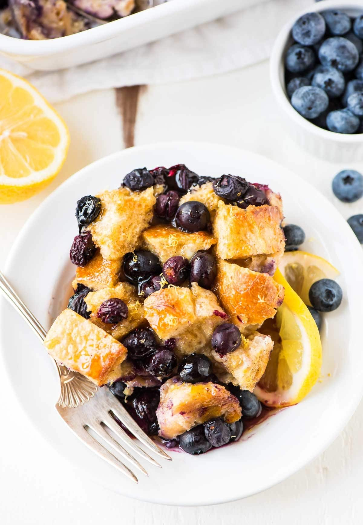 Lemon blueberry French toast casserole in a bowl