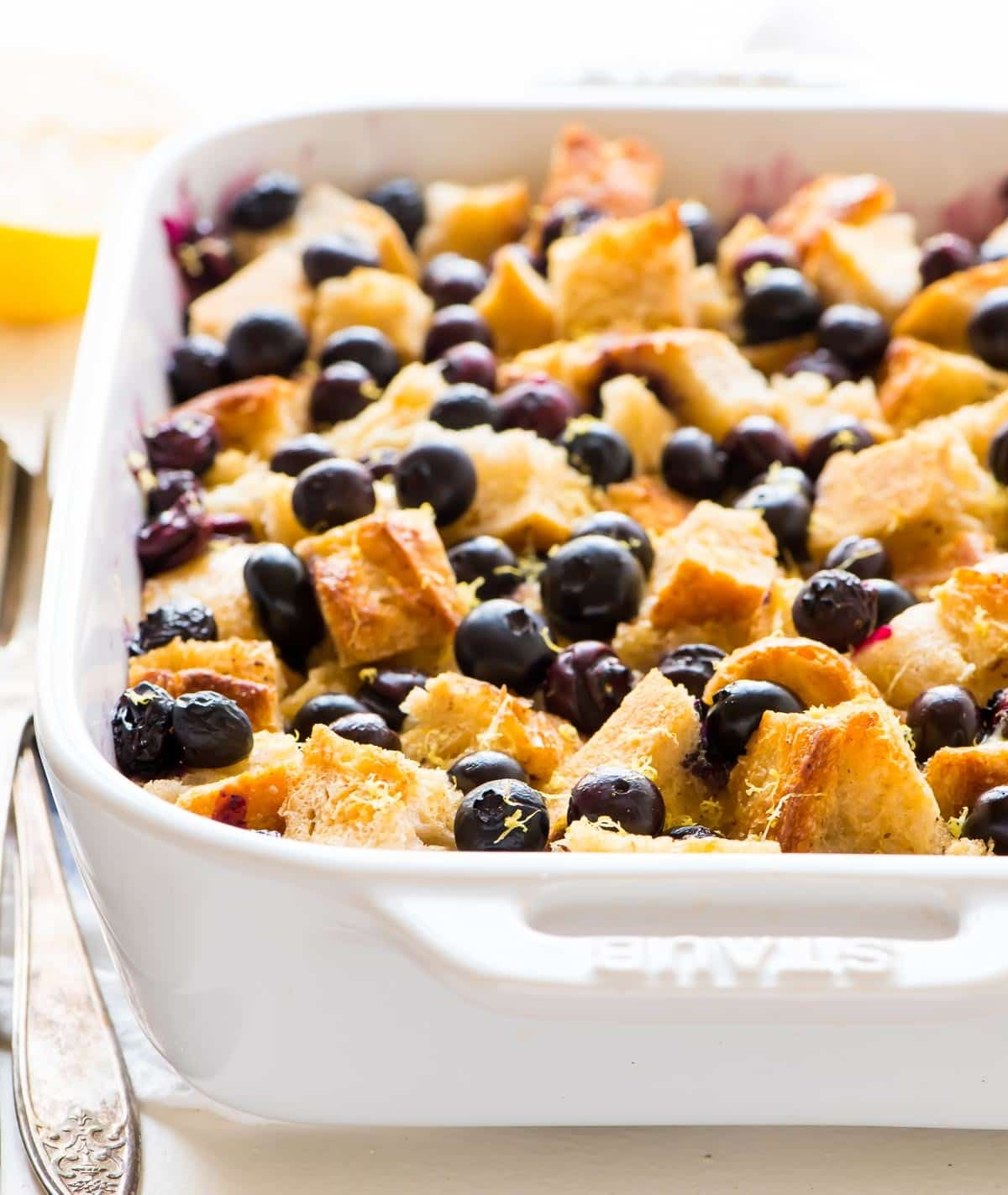 Blueberry French toast casserole in a baking dish