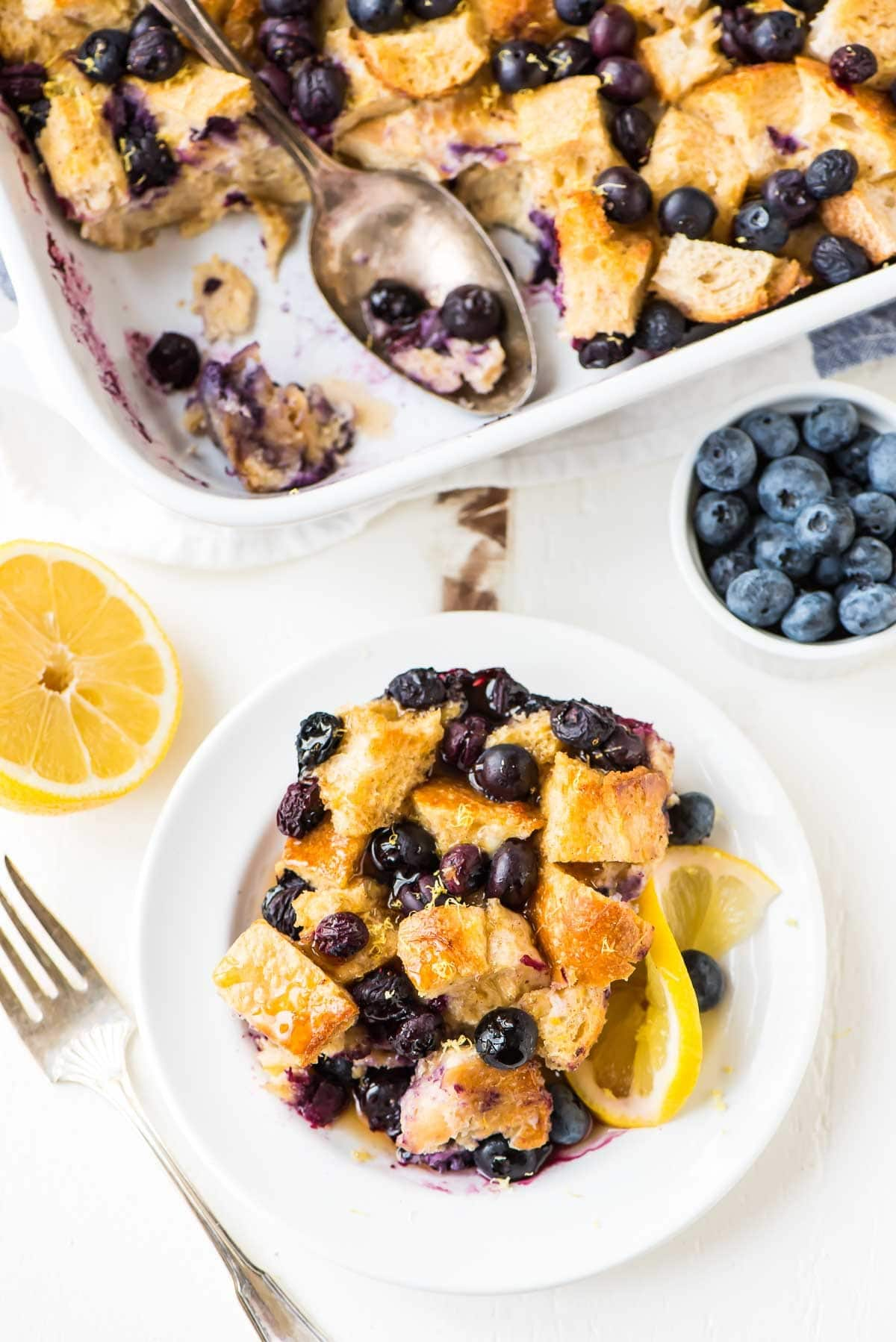 Healthy blueberry French toast casserole with lemon