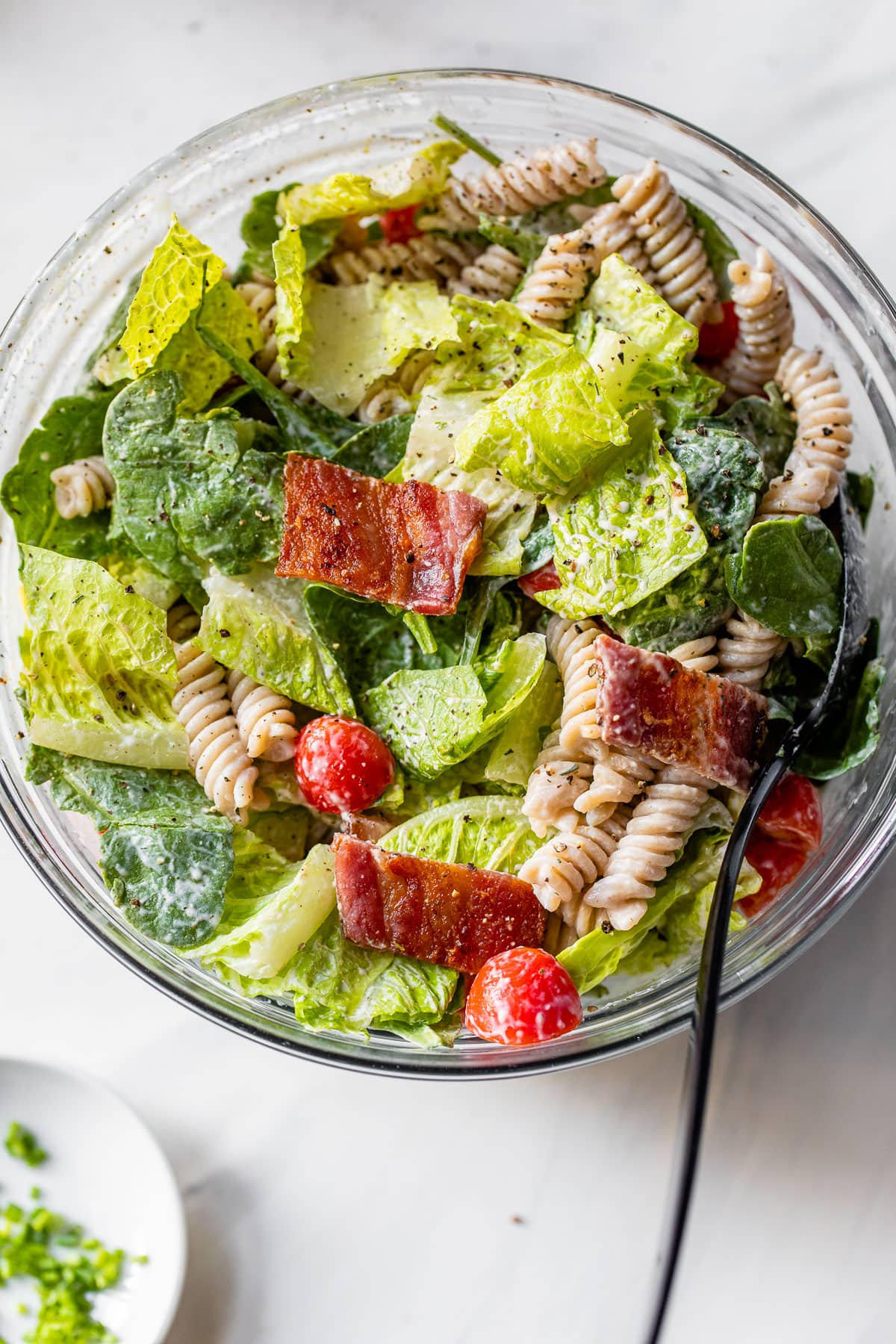 BLT pasta salad with bacon