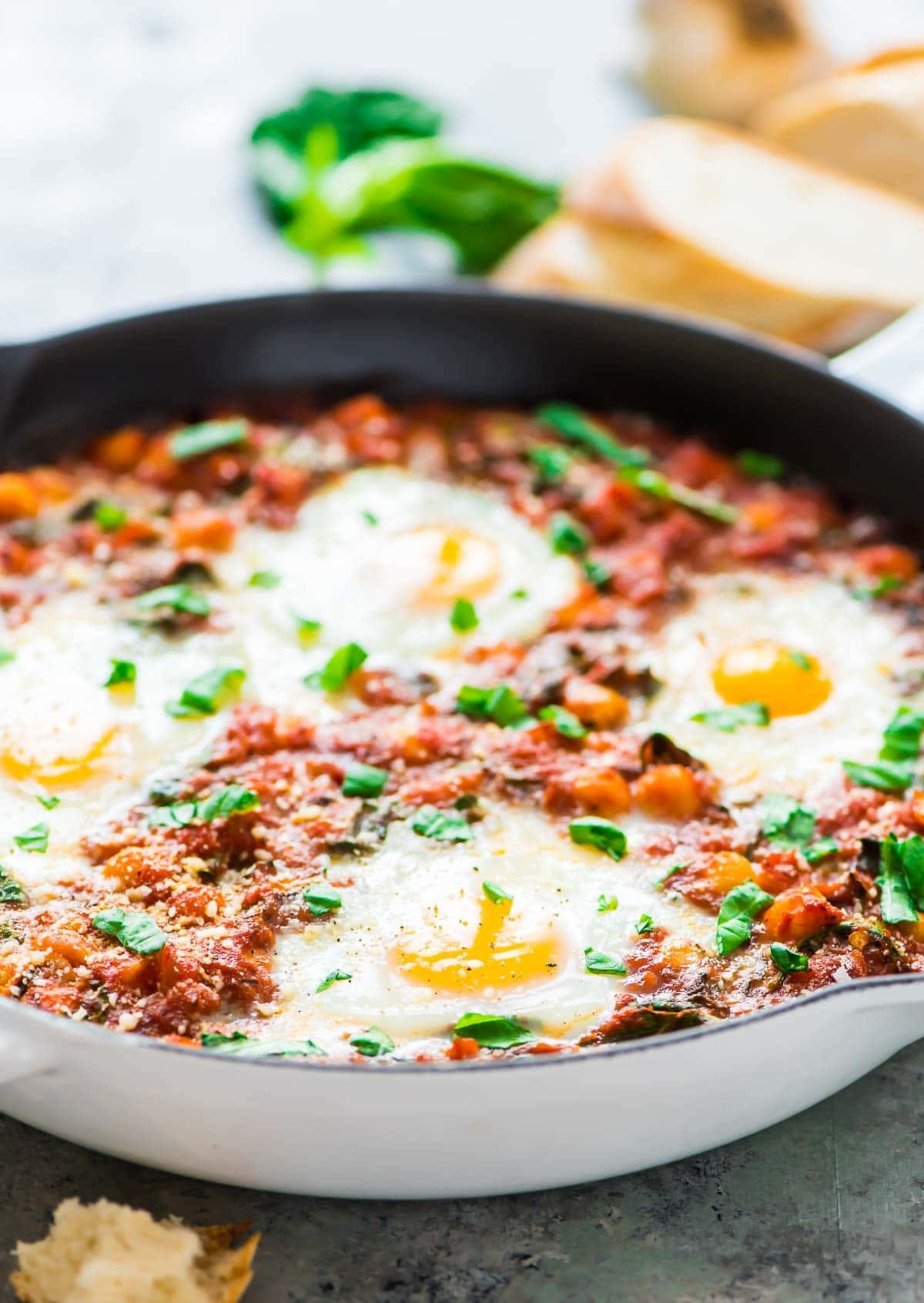 Italian Baked Eggs in Purgatory in a skillet