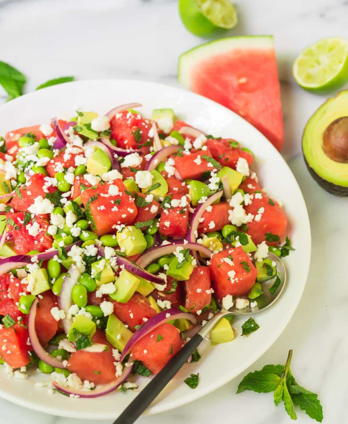 Refreshing watermelon salad in a serving bowl