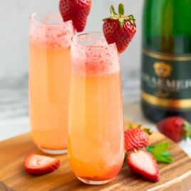 Best Strawberry Champagne in two champagne glasses