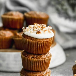 Loaded carrot cupcakes with cream cheese frosting