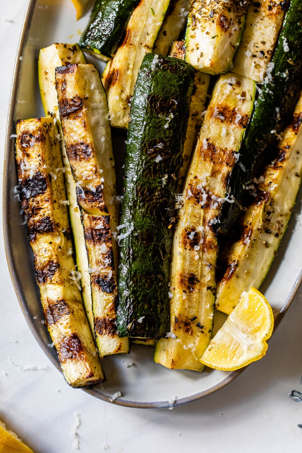 simple grilled zucchini on a plate