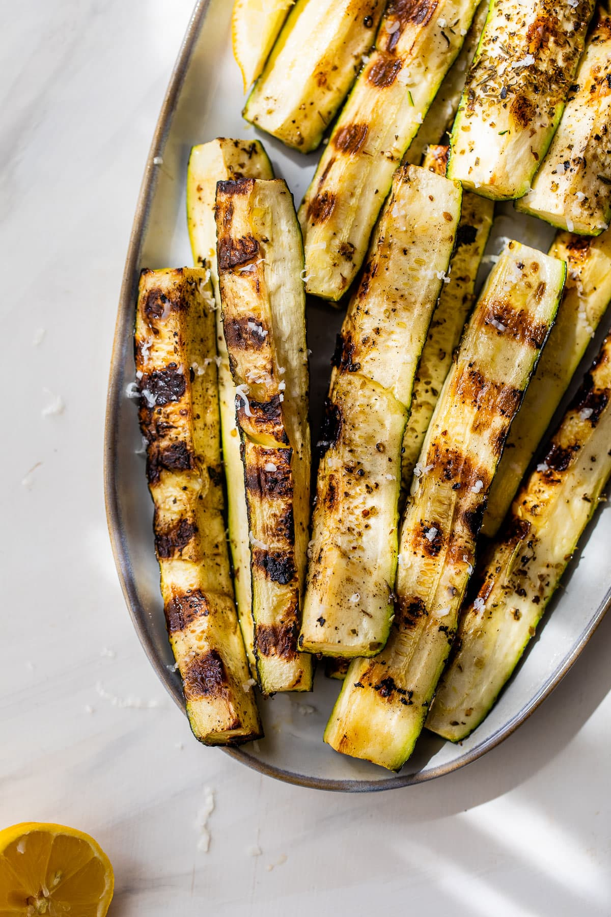 crispy grilled zucchini with Parmesan