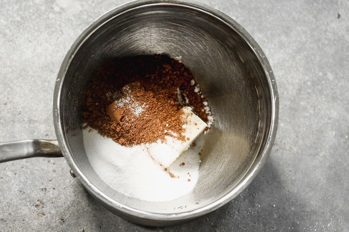 butter, sugar and cocoa in a bowl