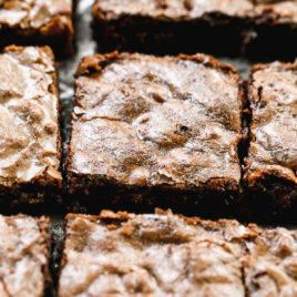 detail photo of brownies cut into squares