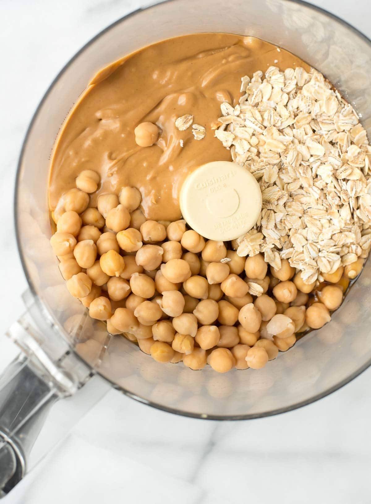 chickpeas, oats and peanut butter in a food processor