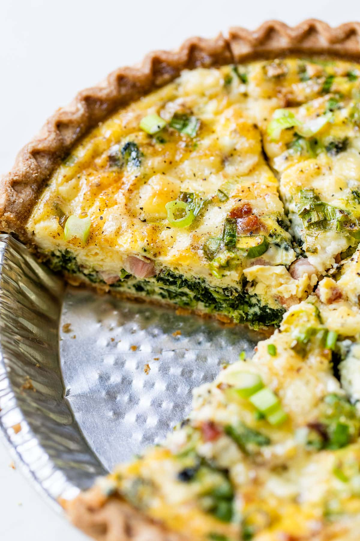 slices of easy spinach quiche