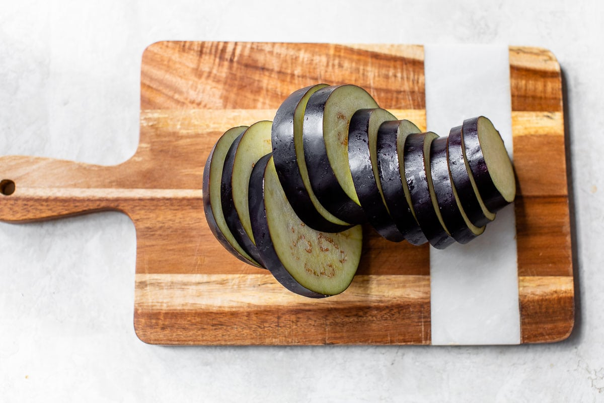 eggplant cut into slices for grilling