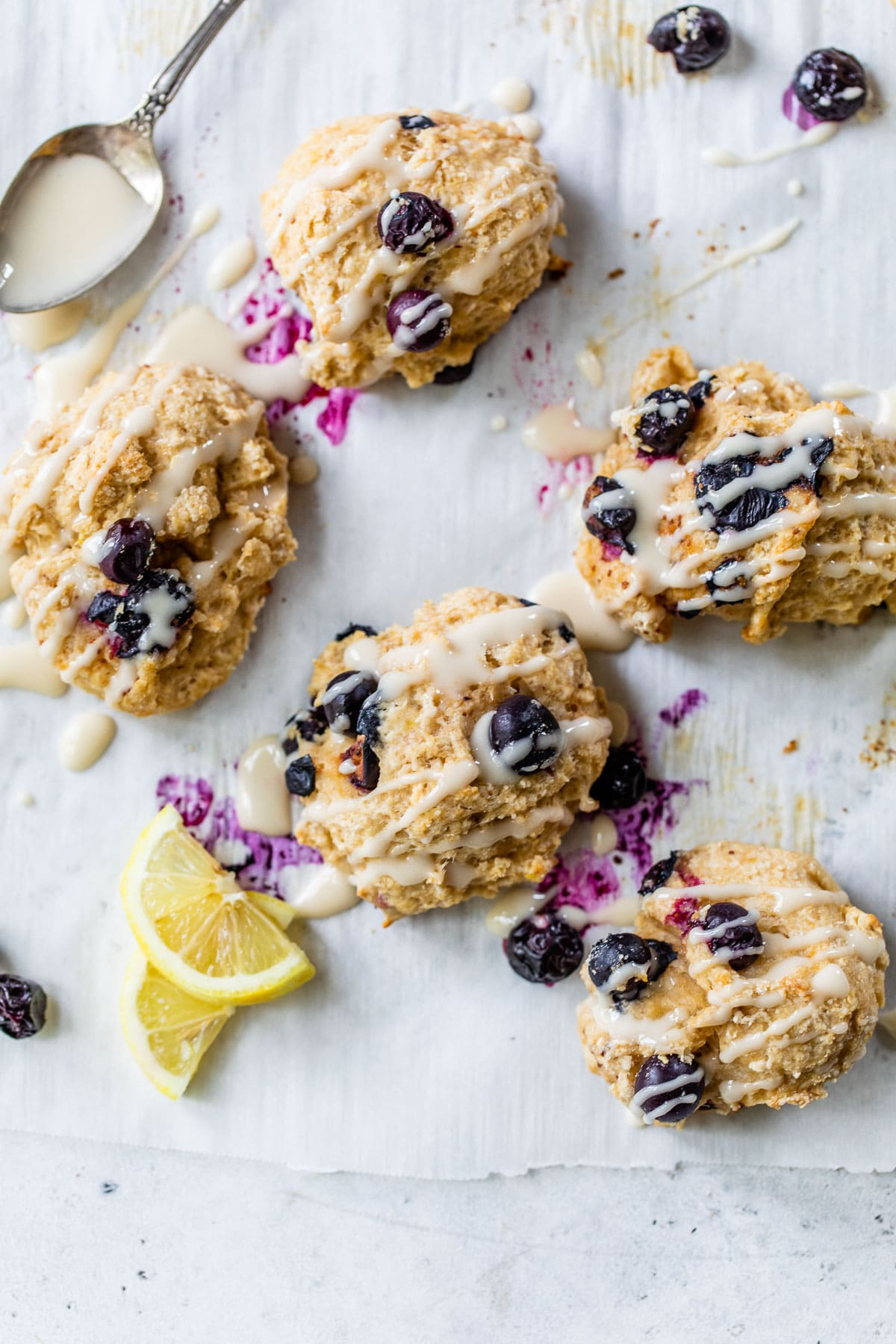 Fluffy healthy blueberry biscuits with sweet lemon glaze
