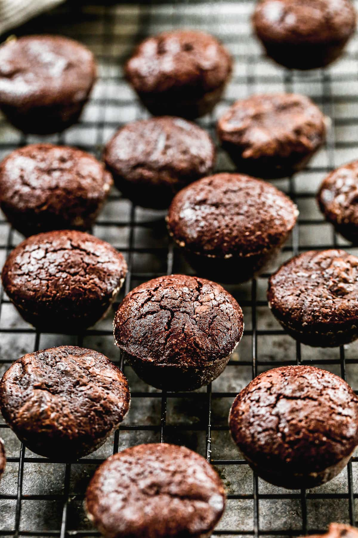 Brownie bites on a cooling rack
