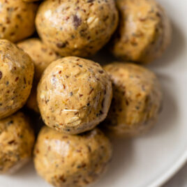 peanut butter oatmeal protein balls on a plate