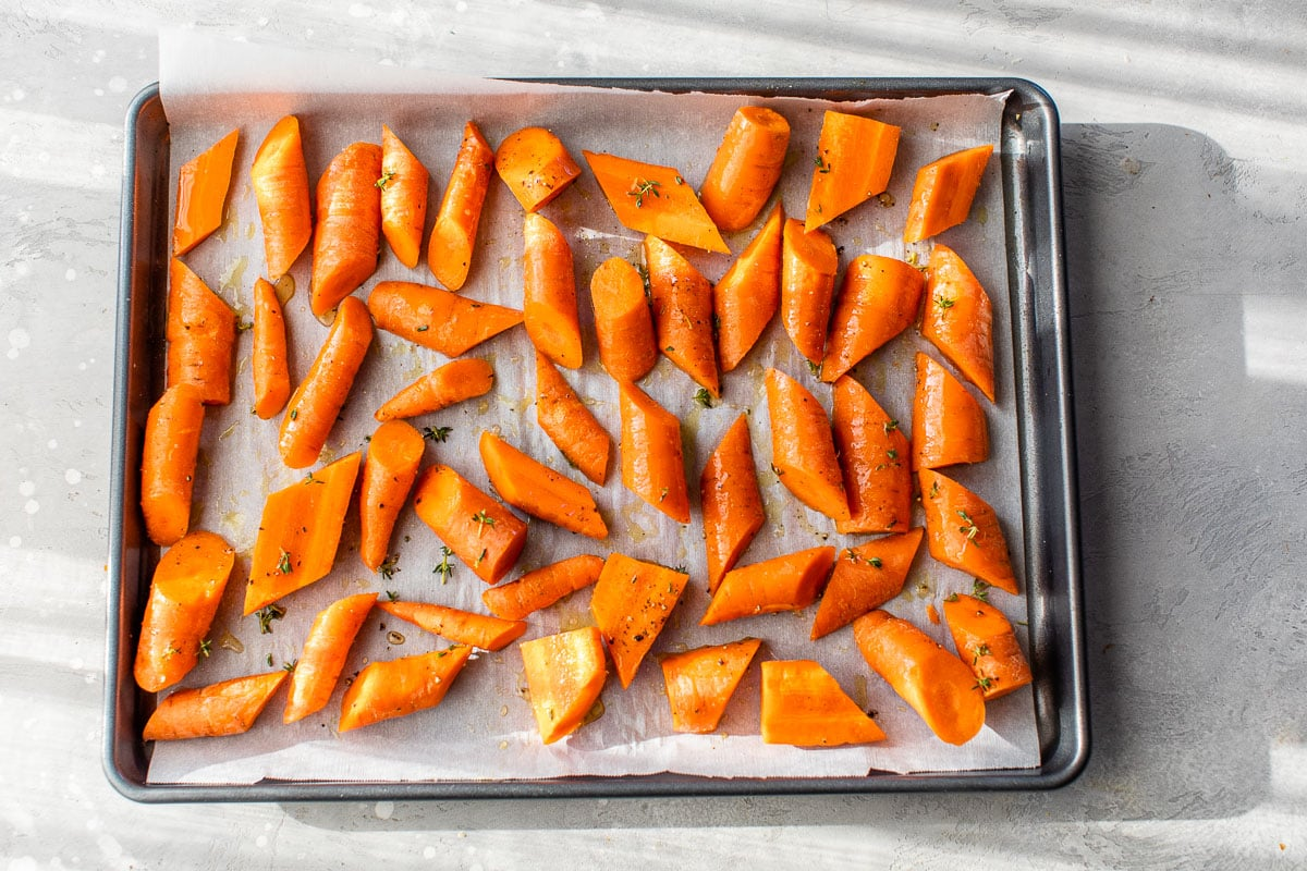 a sheetpan with roasted carrots