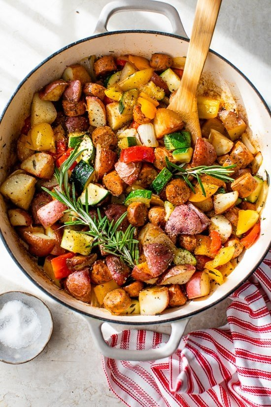 Summer Vegetables with Sausage and Potatoes Skillet