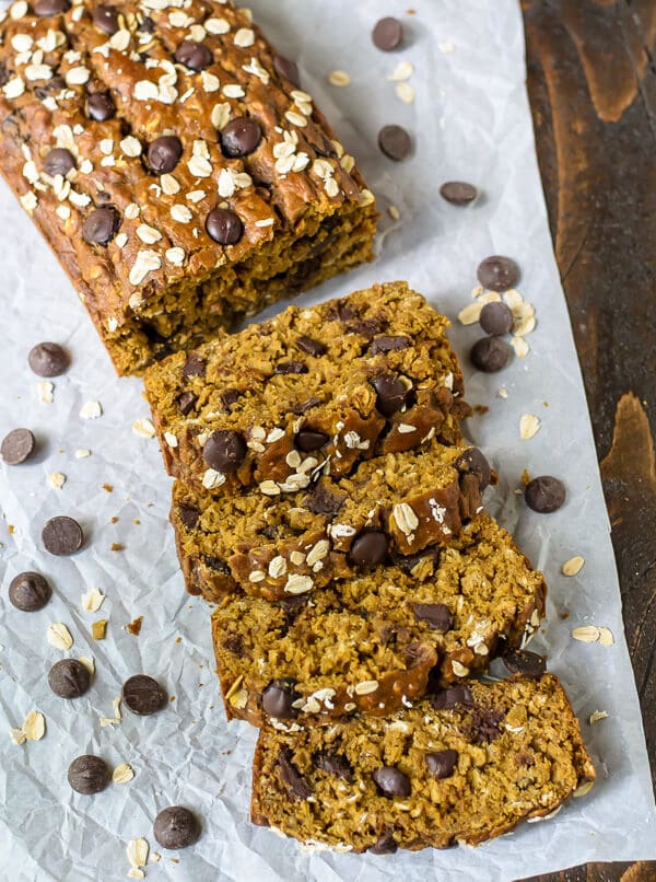 Healthy Pumpkin Chocolate Chip Bread cut into thick slices on parchment paper
