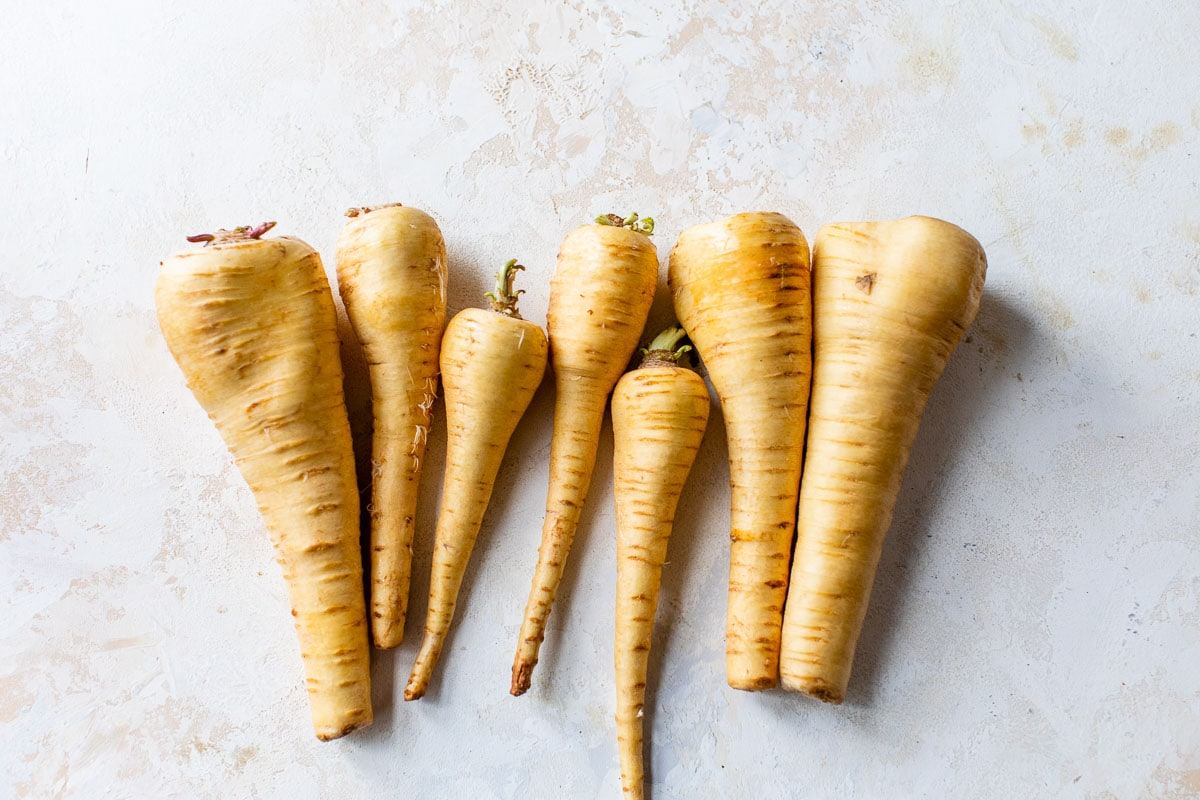 whole unpeeled parsnips