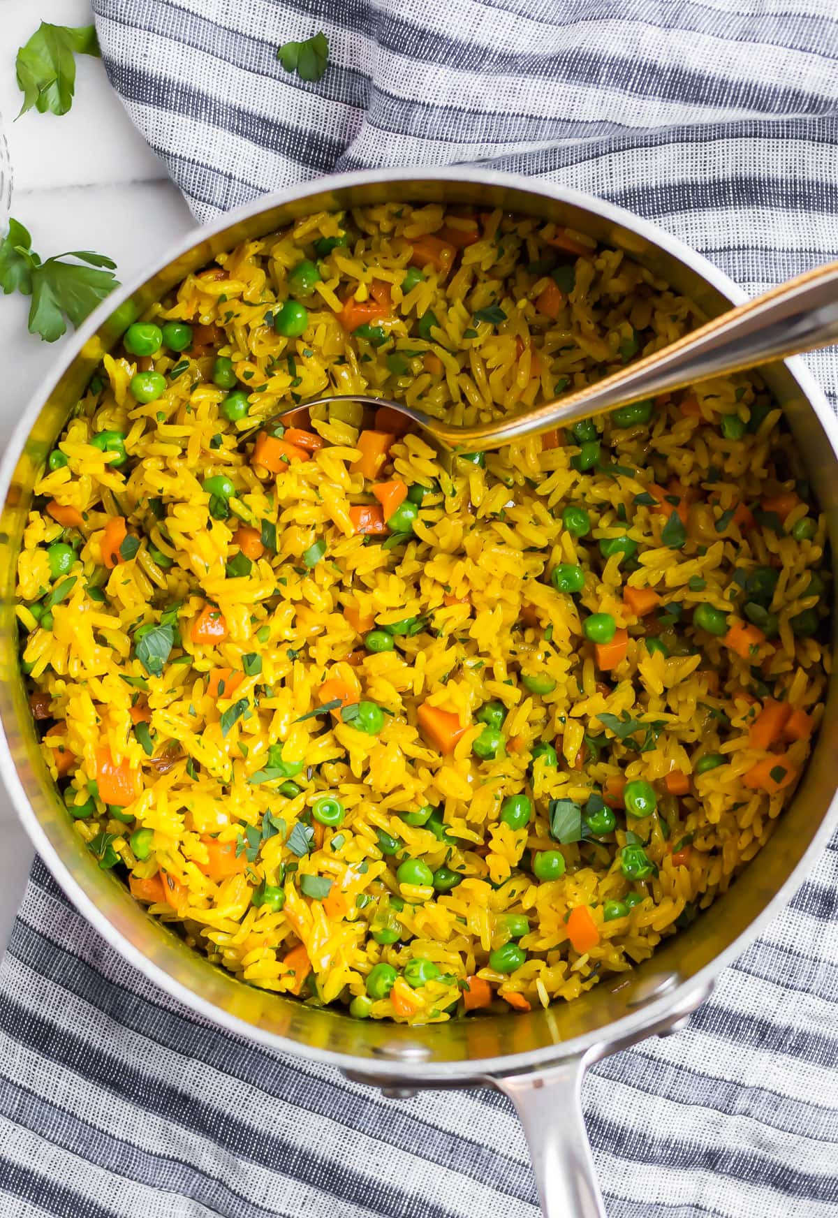 Healthy turmeric rice in a pot