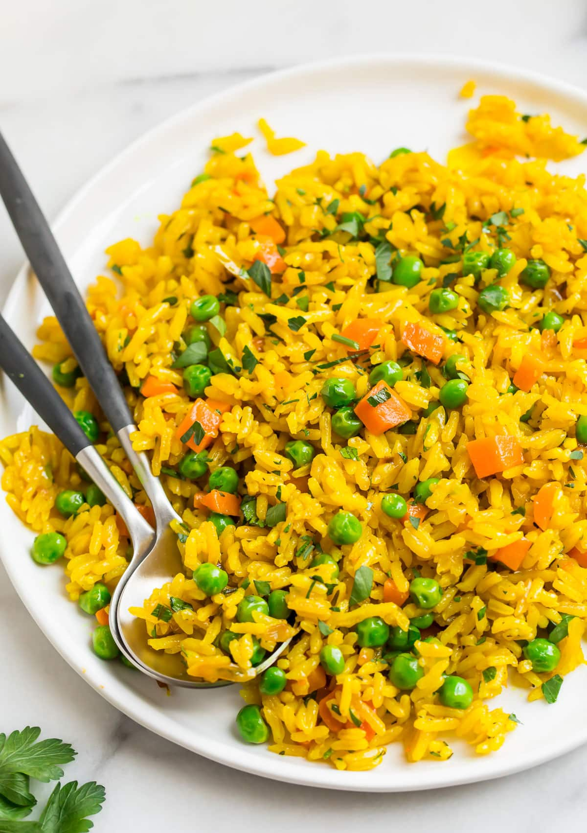 Easy turmeric rice with vegetables on a plate
